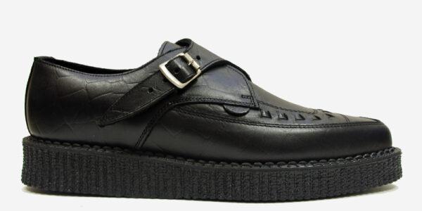 Underground Original Apollo Creeper Black leather croc embossed buckle shoe for men and
