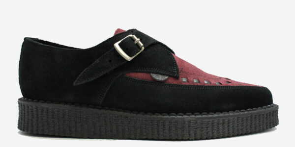 Underground Original Apollo Creeper black suede and burgundy buckle shoe for men and