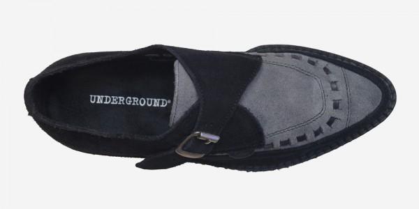 Underground Original Apollo Creeper black and grey suede buckle shoe for men and