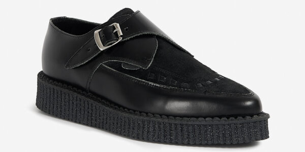 Underground Original Apollo Creeper black leather and suede buckle shoe for men and