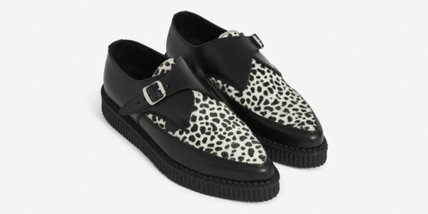 Underground Original Apollo Creeper Black leather and leopard print pony buckle shoe for men and women
