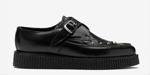 Underground Original Apollo Creeper black leather and nickel studs buckle shoe for men and