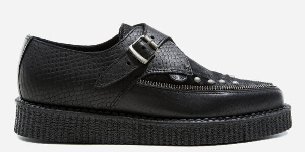 Underground Original Apollo Creeper black leather snake embossed and pony hair with zip detail buckle shoe for men and