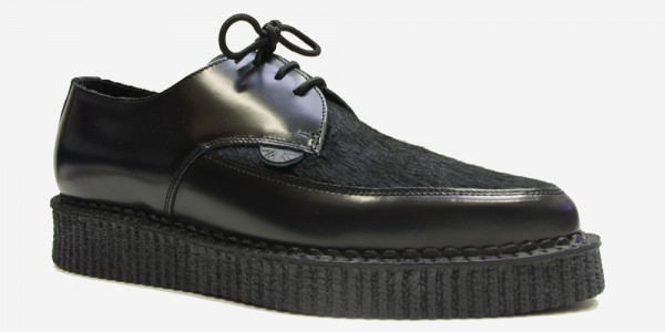 Underground Original Barfly Creeper black leather with black pony hair shoe for men and women