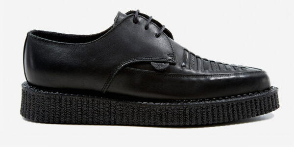Underground Original Barfly Creeper black grain leather with black woven apron shoe for men and women