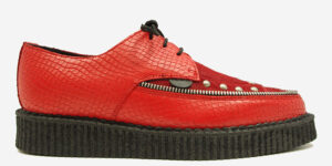 Underground Original Barfly Creeper red snake embossed leather with red pony hair shoe for men and women