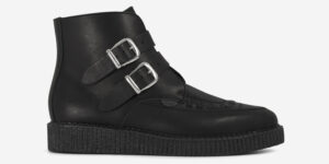Underground Original Bowie black leather with plain buckle boot for men and women