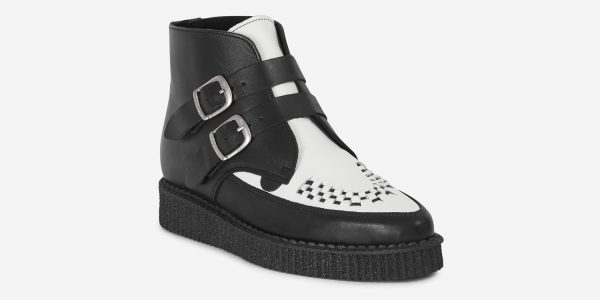 Underground Original Bowie black and white leather with plain buckle boot for men and women