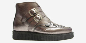 Underground Original Bowie metallic pewter leather with plain buckle boot for men and women