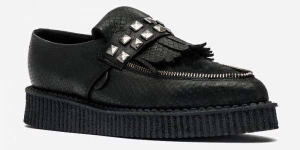 Underground England Creeper black snake embossed leather and pony hair loafer with studded fringe for men and women