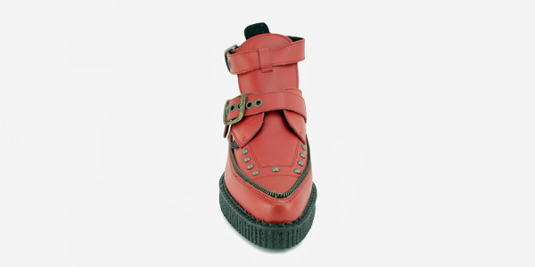 Underground Original Bowie Red grain leather with chains boot for men and women