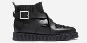 Underground England Original Apollo black leather and pony boot with straps for men and women