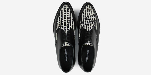 Underground Original barfly Creeper black leather with black and white crocodile shoe for men and women