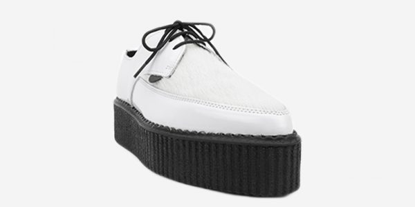 Underground Original barfly Creeper white leather and white pony hair shoe for men and women