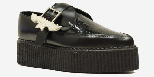 Underground Original Apollo creeper in black leather with bat buckle shoe for men and women