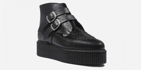 Underground Original Bowie Creeper black crocodile leather and black pony hair boot with plain buckles for men and women