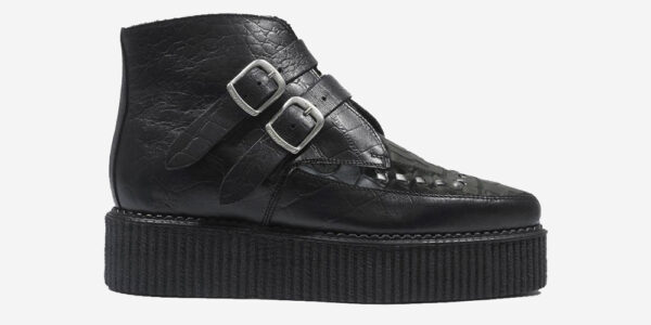 Underground Original Bowie Creeper black crocodile leather boot with plain buckles for men and women