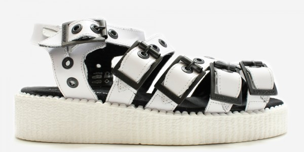 Underground Creeper Sandal White leather and white sole with straps for men and women
