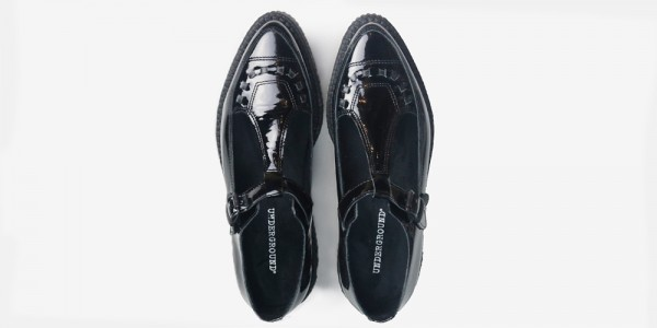 Underground Original Apollo creeper in black patent leather mary jane shoe for men and women