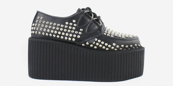 Underground Original Wulfrun Creeper black leather and all over studs for men and women