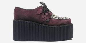 Underground Original Wulfrun Creeper burgundy suede and leopard print pony hair shoe for men and women
