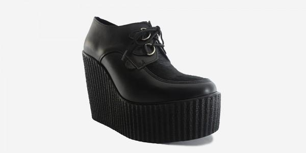 Underground Original Wulfrun Creeper black leather and black pony hair wedge for men and women