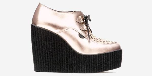 ORIGINAL WULFRUN CREEPER – ROSE GOLD LEATHER & LEOPARD PRINT – WEDGE SOLE – CUSTOM MADE