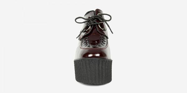 Underground Original Wulfrun Creeper burgundy patent leather wedge for men and women