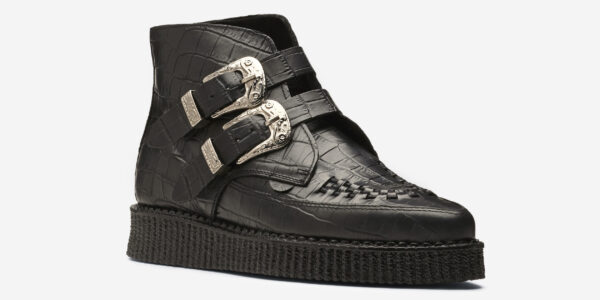 Underground Original Bowie black crocodile embossed leather with western buckle boot for men and women