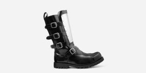WARRIOR 4 BUCKLE STEEL CAP BOOT – BLACK LEATHER & METAL PLATE – SINGLE SOLE – CUSTOM MADE