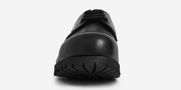 TRACKER – 3 EYELET STEEL CAP SHOE – BLACK LEATHER – SINGLE SOLE