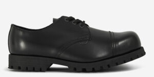 tracker steel cap shoe black leather