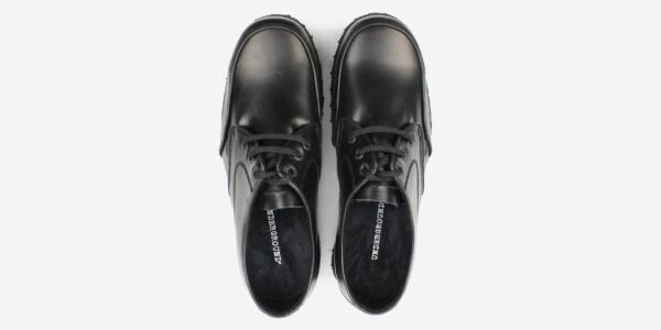 MUD GUARD 3 EYELET STEEL CAP SHOE – BLACK LEATHER – SINGLE SOLE – CUSTOM MADE