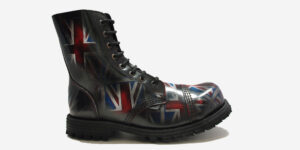 STORMER 8 EYELET STEEL CAP BOOT – UNION JACK RUB-OFF LEATHER – SINGLE SOLE – CUSTOM MADE