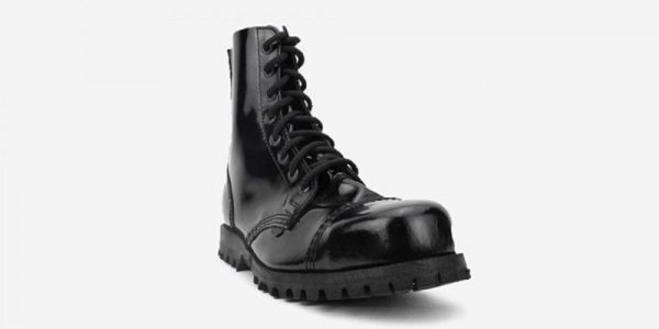 STORMER 8 EYELET STEEL CAP BOOT – BLACK PATENT LEATHER – SINGLE SOLE – CUSTOM MADE