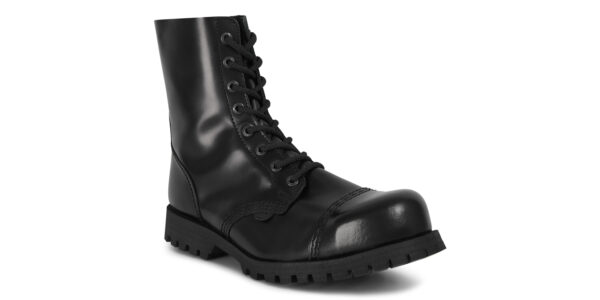 STORMER 8 EYELET STEEL CAP BOOT – BLACK LEATHER – SINGLE SOLE