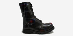 Underground Original Steel Cap Commando tartan rub-off leather combat boot for men and women