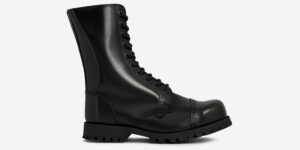 COMMANDO – 10 EYELET STEEL CAP BOOT – BLACK LEATHER – SINGLE SOLE