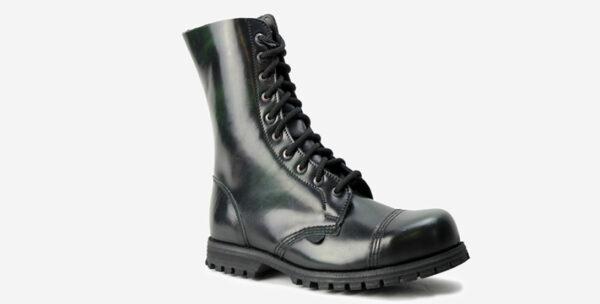 Underground Original Steel Cap Commando green rub-off leather combat boot for men and women
