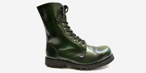 COMMANDO 10 EYELET STEEL CAP BOOT – GREEN RUB-OFF LEATHER – SINGLE SOLE – CUSTOM MADE