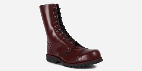 Underground Original Steel Cap Commando cherry leather combat boot for men and women