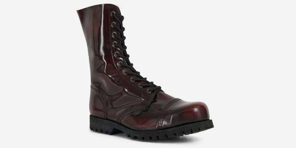 COMMANDO – 10 EYELET STEEL CAP BOOT – BURGUNDY RUB-OFF LEATHER – SINGLE SOLE