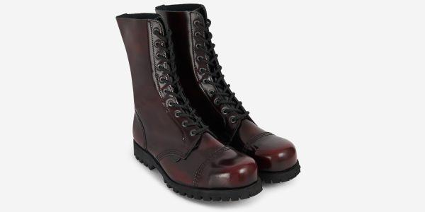 Underground Original Steel Cap Commando burgundy rub-off leather combat boot for men and women
