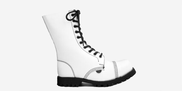 COMMANDO 10 EYELET STEEL CAP BOOT – WHITE LEATHER – SINGLE SOLE – CUSTOM MADE
