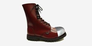 COMMANDO 10 EYELET EXTERNAL STEEL CAP BOOT – CHERRY LEATHER – SINGLE SOLE – CUSTOM MADE