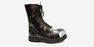 Underground Original External Steel Cap Commando tartan rub-off leather combat boot for men and women