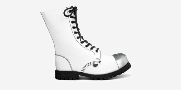 COMMANDO 10 EYELET EXTERNAL STEEL CAP BOOT - WHITE LEATHER - SINGLE SOLE - CUSTOM MADE