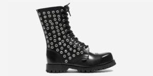 Underground Original Steel Cap Commando Black leather combat boot with rivets for men and women