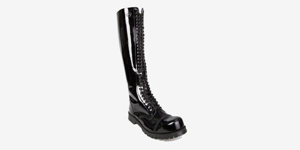 Underground Original Steel Cap Para black patent leather knee length combat boot for men and