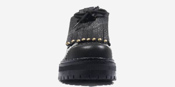 Underground Original Steel Cap Tracker Black tumbled leather shoe with studded fringe detail for men and women
